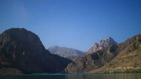 Stars over the mountains. Panorama. Iskander-Kul. stock footage