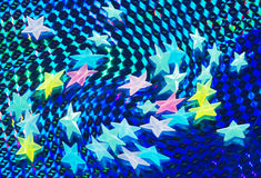 Stars over shining blue background Royalty Free Stock Photography