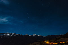 Stars over snowy mountains in Austria Royalty Free Stock Photo