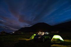 GRETTISLAUG Campsite on Iceland. Stars over the tents in the GRETTISLAUG Campsite on Iceland stock photo
