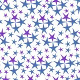 Stars pattern in blue and violet colors.hand-drawn watercolor stars, isolated on white background.Seamless background vector illustration
