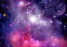 Stars of a planet and galaxy in a free space Stock Images