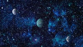 Nebula and galaxies in space.Planet and Galaxy - Elements of this Image Furnished by NASA Stock Images