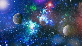 Nebula and galaxies in space.Planet and Galaxy - Elements of this Image Furnished by NASA Stock Photography
