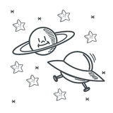 Stars planet ufo space sketch design Royalty Free Stock Photo