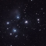 Stars in the Pleiades (M45). Stars in the Pleiades (Seven Sisters or Messier M45) is an open star cluster in the constellation of Taurus. It is the nearest star stock photography