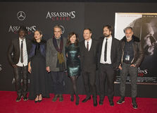 Stars Pose at Red Carpet Movie Premiere. Stars arrive for the New York premiere of `Assassin`s Creed,` on December 13, 2016.  The action adventure film is based Stock Image