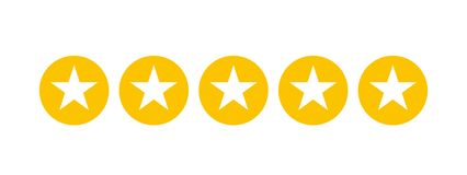 Stars rating for apps and websites. White five stars in yellow circles Stock Illustration