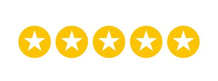 Stars rating for apps and websites. 5 stars in yellow cicles Royalty Free Illustration