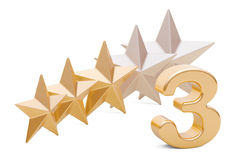 3 stars rating concept, 3D rendering. Isolated on white background Royalty Free Stock Photos