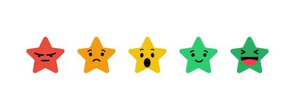 Stars rating in the form emotions. Stars in red orange yellow green color Stock Illustration