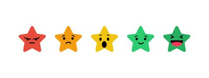 Stars rating in the form emotions. Colorful stars on blank background Royalty Free Illustration