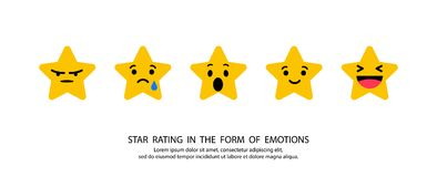 Stars rating in the form emotions. 5 stars on blank background Stock Illustration