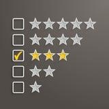 3 Stars Rating Stock Photo