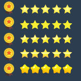 5 stars rating icons set and copper ribbon medal of star vector. Illustration. quality rate status level for web or app Royalty Free Stock Photos