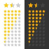 Stars rating panel. Three goldstars rank on white and black background. Classification scores for interfaces, games, websites and mobile applications. Vector Stock Images