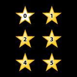 Stars Rating. Simple Stars Rating. Yellow Shapes on Black Background Stock Photos
