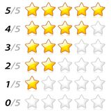 Stars rating system. Illustration of stars rating system on white background Royalty Free Stock Image