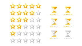 5 Stars Rating. Vector Collection With Flat Yellow Star Icons That Imitating Golden Stars. Template For Web Design.  Royalty Free Stock Images