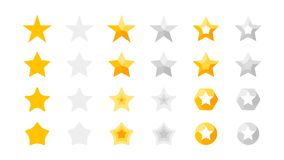 5 Stars Rating. Vector Collection With Flat Yellow Star Icons That Imitating Golden Stars. Template For Web Design.  Stock Image
