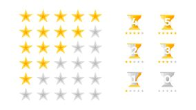 5 Stars Rating. Vector Collection With Flat Yellow Star Icons That Imitating Golden Stars. Template For Web Design.  Royalty Free Stock Image