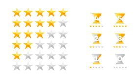 5 Stars Rating. Vector Collection With Flat Yellow Star Icons That Imitating Golden Stars. Template For Web Design.  Stock Photo