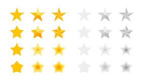 5 Stars Rating. Vector Collection With Flat Yellow Star Icons That Imitating Golden Stars. Template For Web Design.  Stock Photos