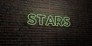 STARS -Realistic Neon Sign on Brick Wall background - 3D rendered royalty free stock image Stock Image