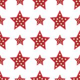 Stars red decorative modern print wallpaper colorful seamless pattern background texture design decoration vector Stock Images