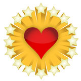Stars and red heart Royalty Free Stock Photos