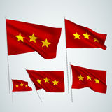 3 stars - red vector flags. A set of wavy 3D flags created using gradient meshes. EPS 8 vector Stock Photo