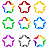 Stars of ribbons 23.04.13. Set of web elements as stars of colored ribbons for designers for various necessities Royalty Free Stock Photography