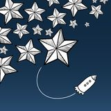 Stars and rocket Royalty Free Stock Images