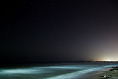 Stars with sandy beach. At night royalty free stock photo
