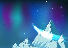 Stars scatter, comet traveling on night sky with aurora, fantasy astronomy constellation ice mountains landscape arctic concept stock illustration