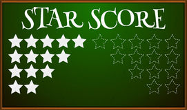 Stars score on blackboard Royalty Free Stock Photos