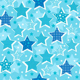 Stars Seamless Pattern. Blue Stars Celestial Seamless Repeat Pattern Vector Illustration eps Royalty Free Stock Photo