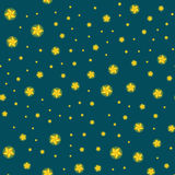 Stars seamless pattern for christmas illustration, dark sky at night or in space tile background  Royalty Free Stock Photos