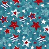 Stars seamless pattern. Drawing hands Stock Images