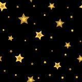 Stars seamless pattern gold black 3D Stock Photos