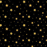 Stars seamless pattern gold black 3D retro Stock Photo