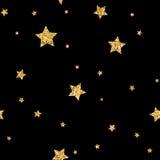 Stars seamless pattern gold. Stars polka dots seamless pattern gold and black retro background. Abstract bright golden design for wallpaper, christmas decoration Royalty Free Stock Photos