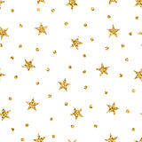 Stars seamless pattern gold. Stars polka dots seamless pattern gold and white retro background. Abstract bright golden design for wallpaper, christmas decoration Stock Image