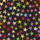 Stars seamless pattern. Greeting card background, Holiday bright star bacdrop various sizes and colors. Vector illustration Stock Images