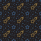Stars seamless pattern. Lines style Stock Image