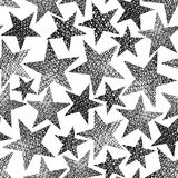 Stars seamless pattern, vector repeating black and white backgro Royalty Free Stock Photography