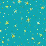 Stars seamless pattern. Seamless pattern with yellow stars on the background in aquamarine colour stock illustration