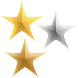 Stars. A selection of sparkling gold, silver and bronze stars Royalty Free Stock Image