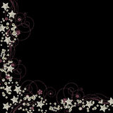 Stars and sequins border vector. Stars and sequins border with silver stars and swirls isolated on black background in vector format Royalty Free Stock Photos