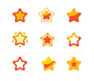 Stars set. A collection of orange stars Royalty Free Stock Photos